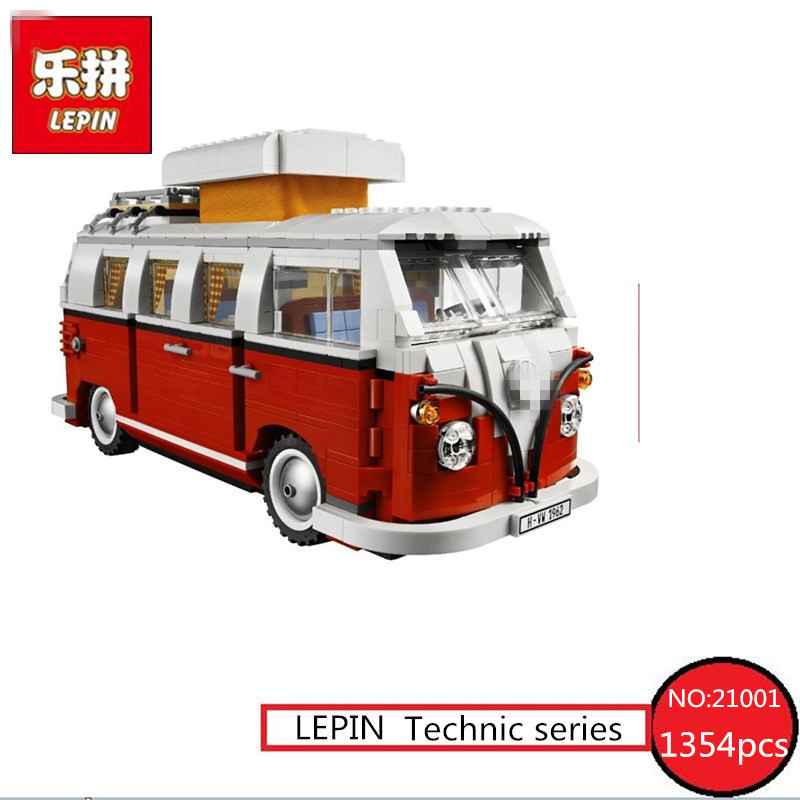Creator Volkswagen T1 Camper Van Model LEPIN 21001 1354pcs Technic Building Blocks Bricks Children Kits Toys Compatible 10220 graceful solid color and hasp design tote bag for women