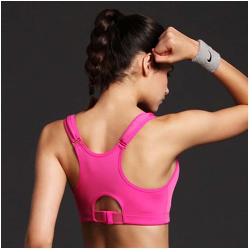 Newest Style Women Wirefree Sports Bra High Intensity Shakeproof Gym Running Tank Top Vest Adjustable Strap Rose red L