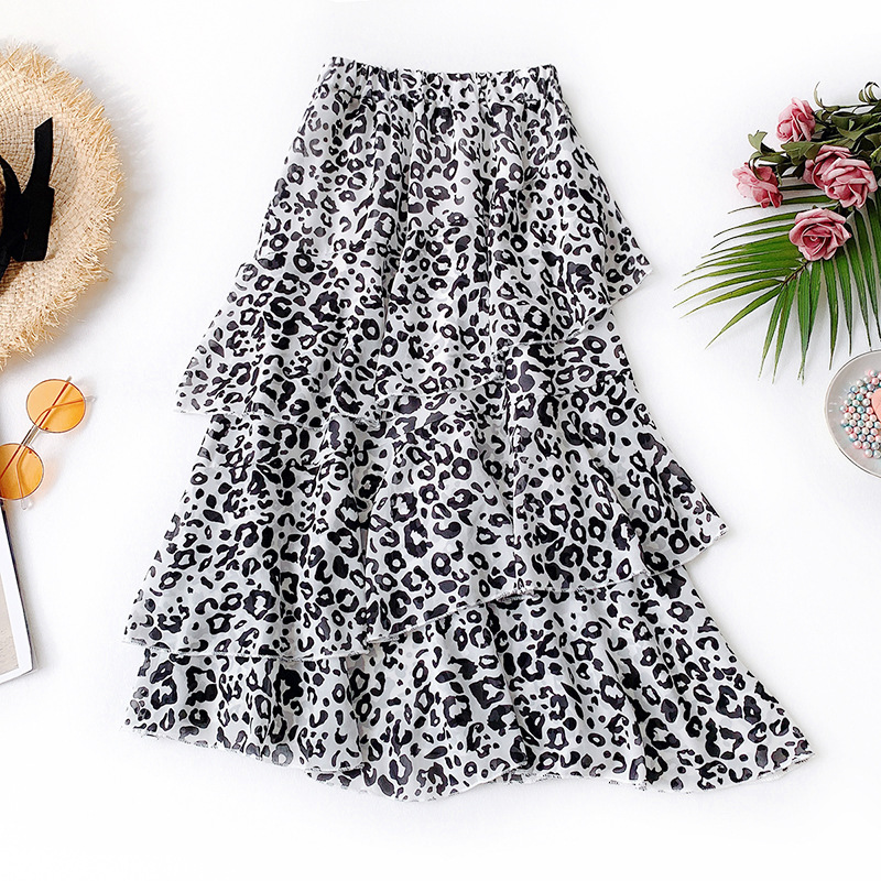 Wasteheart Spring Red Women Skirt Casual High Waist A Line Lace Mid Calf Long Skirt Chiffon Clothing All match Ruffles in Skirts from Women 39 s Clothing