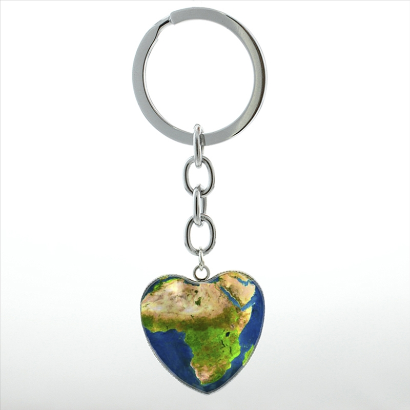 New fashion African jewelry Map of Africa heart pendant key chain ring Earth World Map m ...