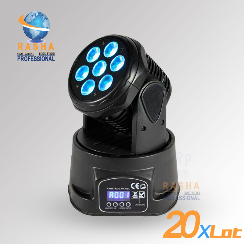 20X LOT Factory Price e HOT 7* 12W 4IN1 RGBW High Brightness MINI LED Moving Head Wash Light,Stage Moving Head Light цена