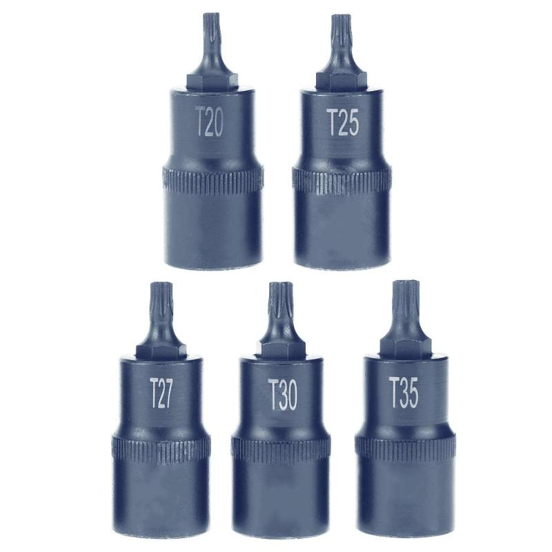 Torx Screwdriver Bit Tool 1/2 Socket Bits Adapter T20 T25 T27 T30 T35 T40 T45 T50 T55 T60 T70 Drive Socket Hand Tools Set mainpoint 1 4 1 2 3 8 e socket sockets set cr v torx star bit combination drive socket nuts set for auto car repair hand tool