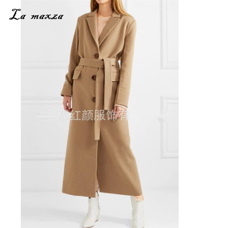 Woman Coats Winter Wool Long Coat 2020 Vintage Fashion Korean Camel Ladies Coats Plus Size