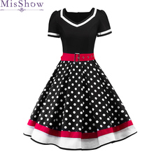2019 Womens Cocktail Dresses Plus size Dots Print Retro Vintage 50s Casual Party Rockabilly Belted Dress Vestidos Femininos eyes print belted dress