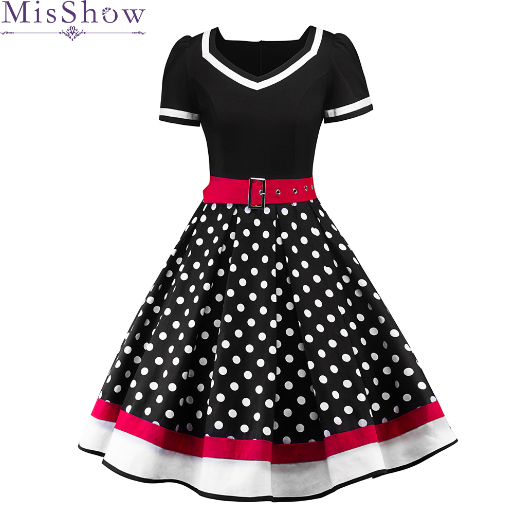2019 Womens   Cocktail     Dresses   Plus size Dots Print Retro Vintage 50s Casual Party Rockabilly Belted   Dress   Vestidos Femininos