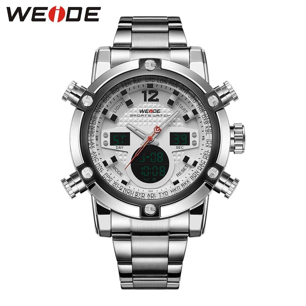 WEIDE Auto Date Luxury Brand Dual Time Zone Black LCD Dial Alarm Steel Strap Relogio Quartz