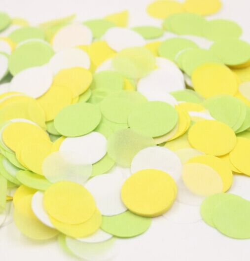 1 Inch Circle Yellow Lime Tissue Paper Confetti Baby Shower Bridal