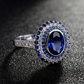 Fashion Wedding&Engagement Ring CZ diamond Jewelry Micro Pave Blue Angels Silver Tone Cubic Zircon Pave Setting Rings For Women
