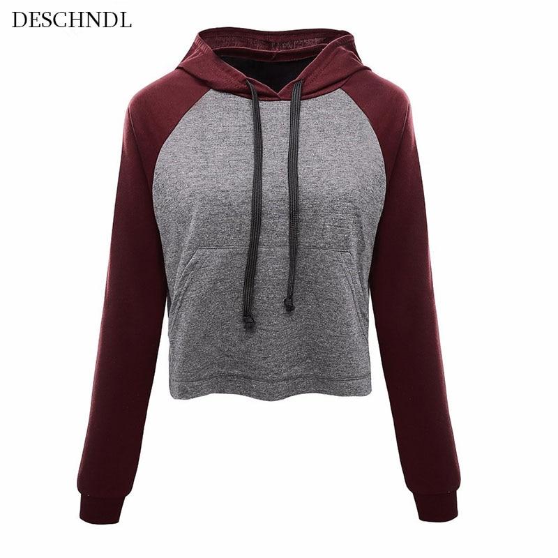Camisetas manga larga gris con capucha 2018 Nuevas mujeres sudadera - Ropa de mujer