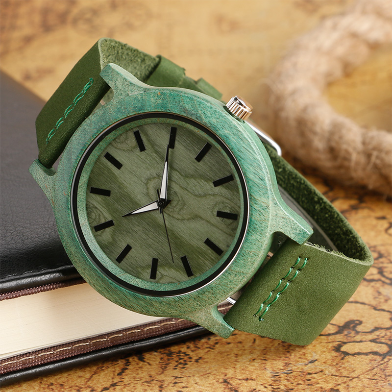 Image 3 - Top Gifts Fashion Green Watch Mens Womens Natural Handmade Bamboo Wooden Quartz Clock Trendy Genuine Leather Relogio Femininofemininofeminino relogio  -