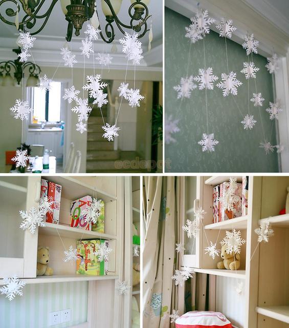 5 Pcs Kertas Snowflake Hiasan Gantung Garland Xmas Dekorasi Rumah Putih