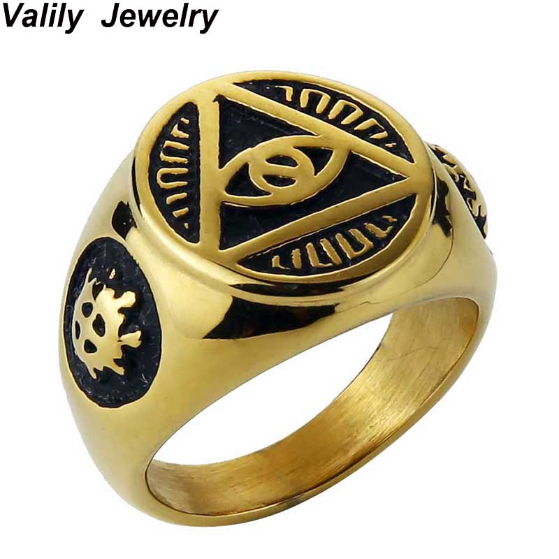 Valily Jewelry Mens Ring Illuminati Pyramid Eye Symbol Gold-color Rings Stainless steel Signet Ring Mens Jewelry bagues femme