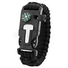 Hot Sale Survival Bracelet Flint Fire Starter Gear Escape Paracord Whistle Cord Buckle Camping Bracelets Rescue Rope Travel Kits