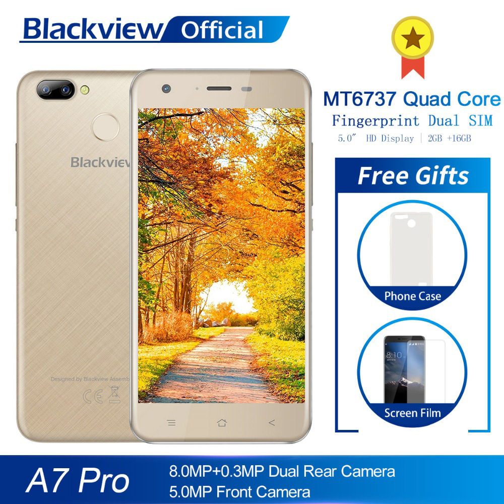 Blackview A7 pro 5 0 inch Mobile Phone MT6737 Quad Core 2GB RAM 16GB ROM 8