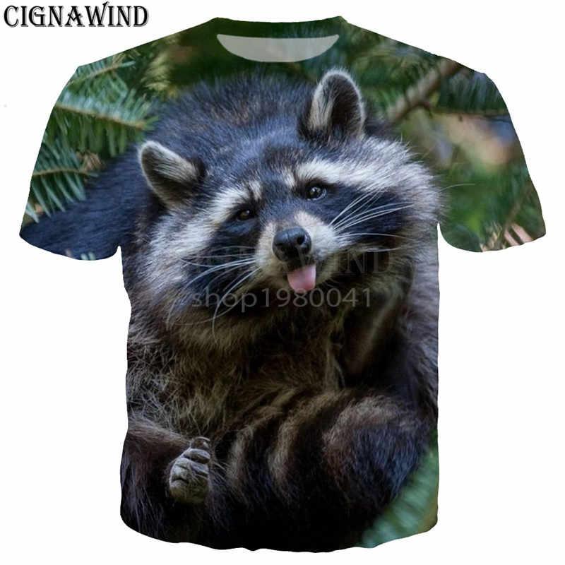 Новое поступление милый енот щенок Животные футболка для мужчин женщин 3D  футболки с коротким рукавом d17e1ff19d6a8