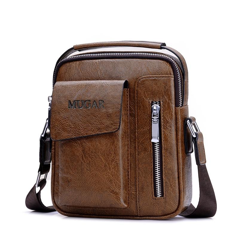 Casual Vintage Messenger Bag Men Shoulder Bags Pu Leather Crossbody Bags For Men Bags Retro Zipper Man Business Handbags
