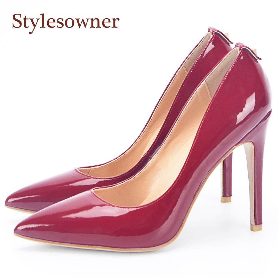 Stylesowner Solid Color Women Pumps OL Single Shoes Shallow Back Rivet Pointed Toe Stiletto Heel Sexy Ladies Dress Party Shoes shoesofdream ladies high heel closed pointed toe solid plain pumps decoration handmade for wedding party dress stiletto shoes