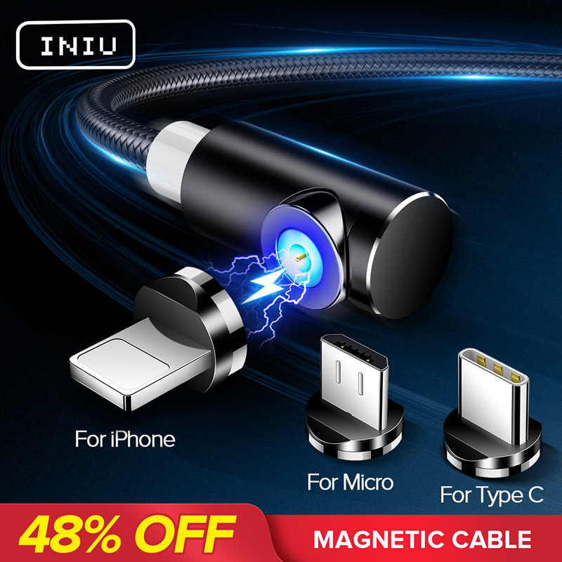 INIU 2m Magnetic Cable Micro USB Type C Adapter Charger Fast Charging For iPhone XS Max Samsung Charge Magnet Android Phone Cord iniu magnetic charging