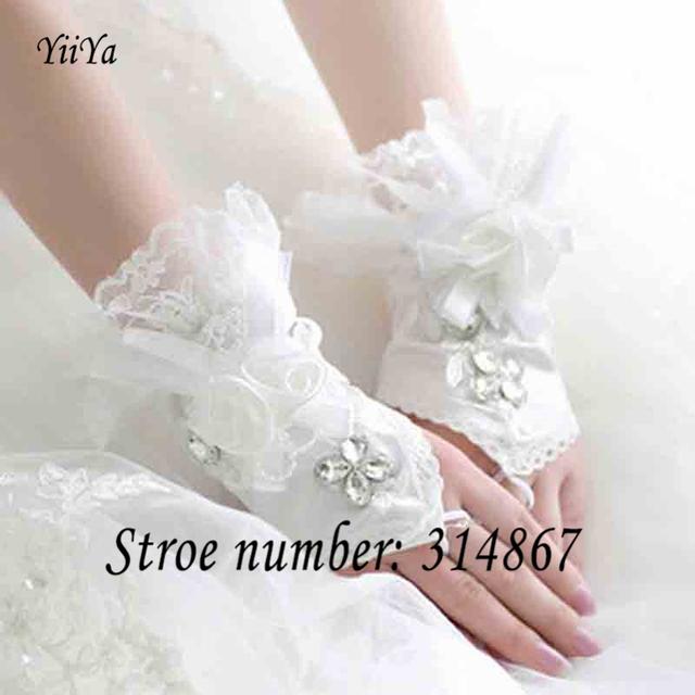 Frete grátis new arrival 2016 de casamento da noiva curto rendas luvas sexo ST709
