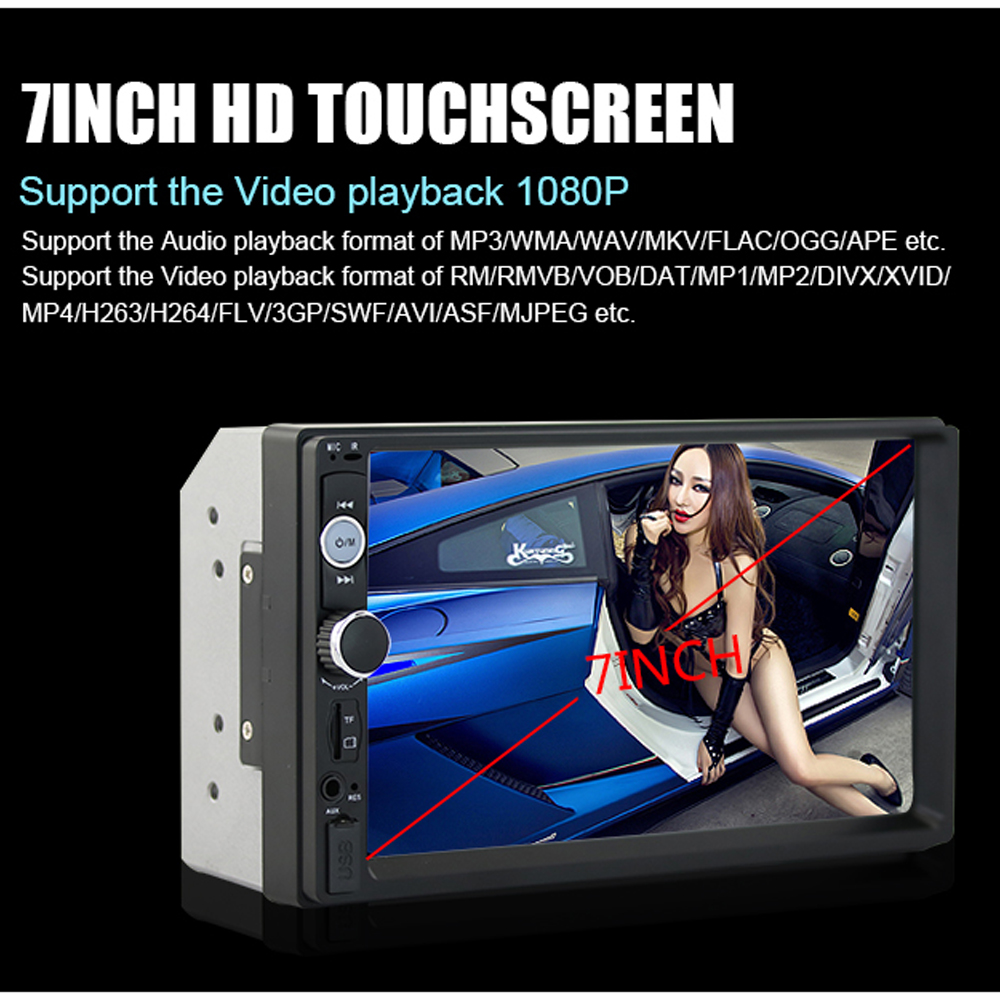 Podofo 2 din Car Audio Stereo Radio 7010B Multimedia Player 7 HD MP5 Touch Screen Digital Display Bluetooth USB FM Autoradio car dvd radio multimedia audio player bluetooth lcd display touch screen stereo music mp5 player handfree support fm transmitter