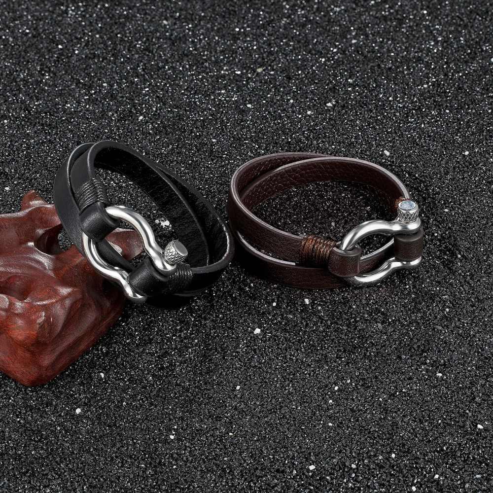 2019 nowych prawdziwej skóry ze stali nierdzewnej bransoleta mężczyźni kobiety czarna podwójna warstwa bransoletki na nadgarstek bransoletki luksusowa biżuteria