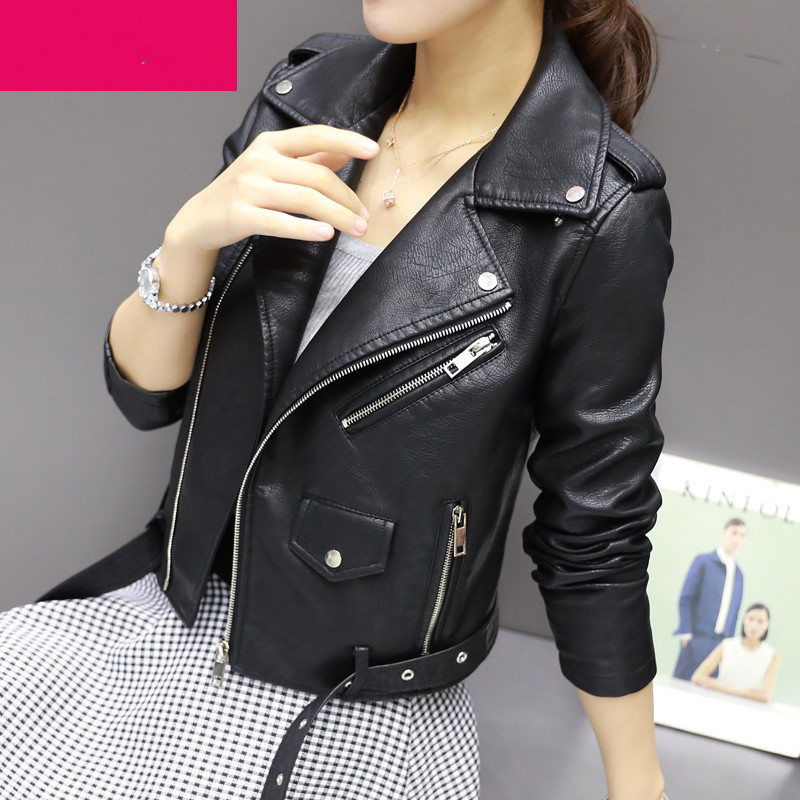 Autumn Winter Street Women's Short Washed PU Leather Jacket Zipper Bright Colors Ladies Basic Jackets|leather jacket zipper|pu leather jacketleather jacket - AliExpress