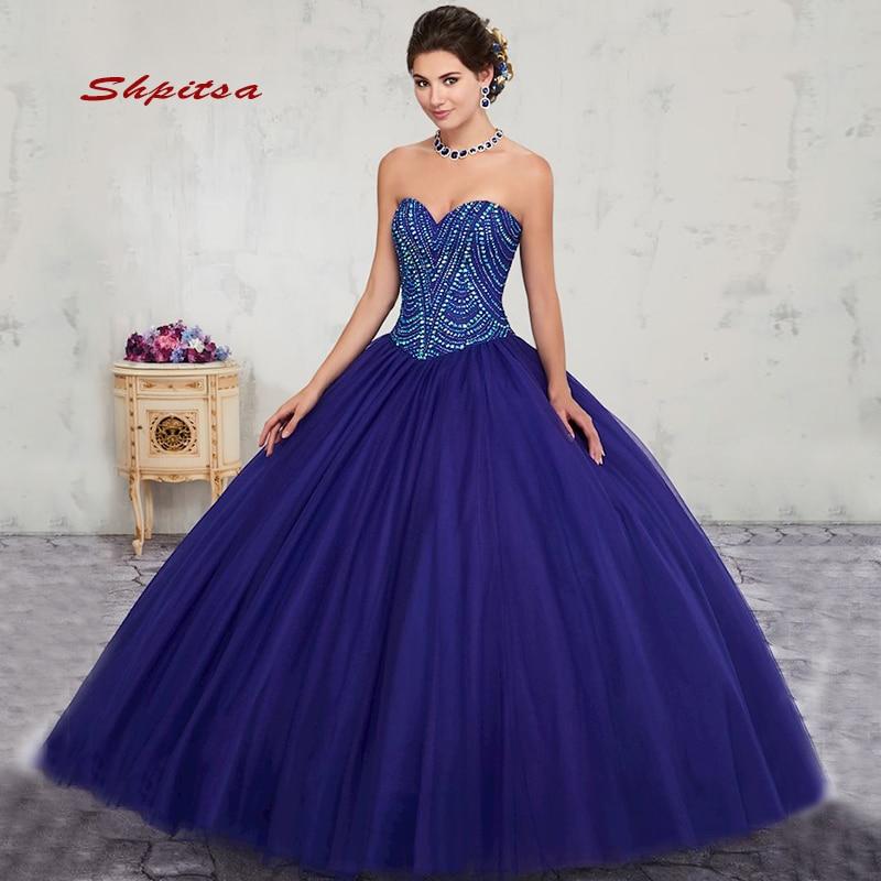 2019 robe de bal longue bleu marine Quinceanera robes 15 douce 16 Puffy Quinceanera robe de bal robes pour 15 ans