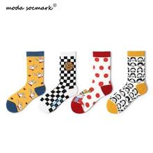 Moda Socmark Brand 2019 Summer Happy Socks Women Fashion Trend Funny Cartoon lovely Harajuku Crew For Female