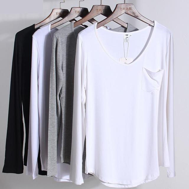 55d304447fb8 Modal Long Sleeve V Neck Pure Color T Shirts Spring Summer New Arrivals  Loose Bottoming Plus Size S-4xl Quality Casual Tops