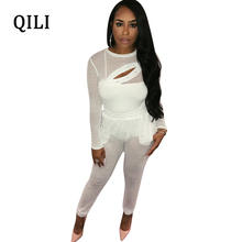 QILI White 2 Piece Set Women Jumpsuits Sexy Hollow Out Mesh Long Sleeve See Through Bodycon Jumpsuit Nightclub Club Wear