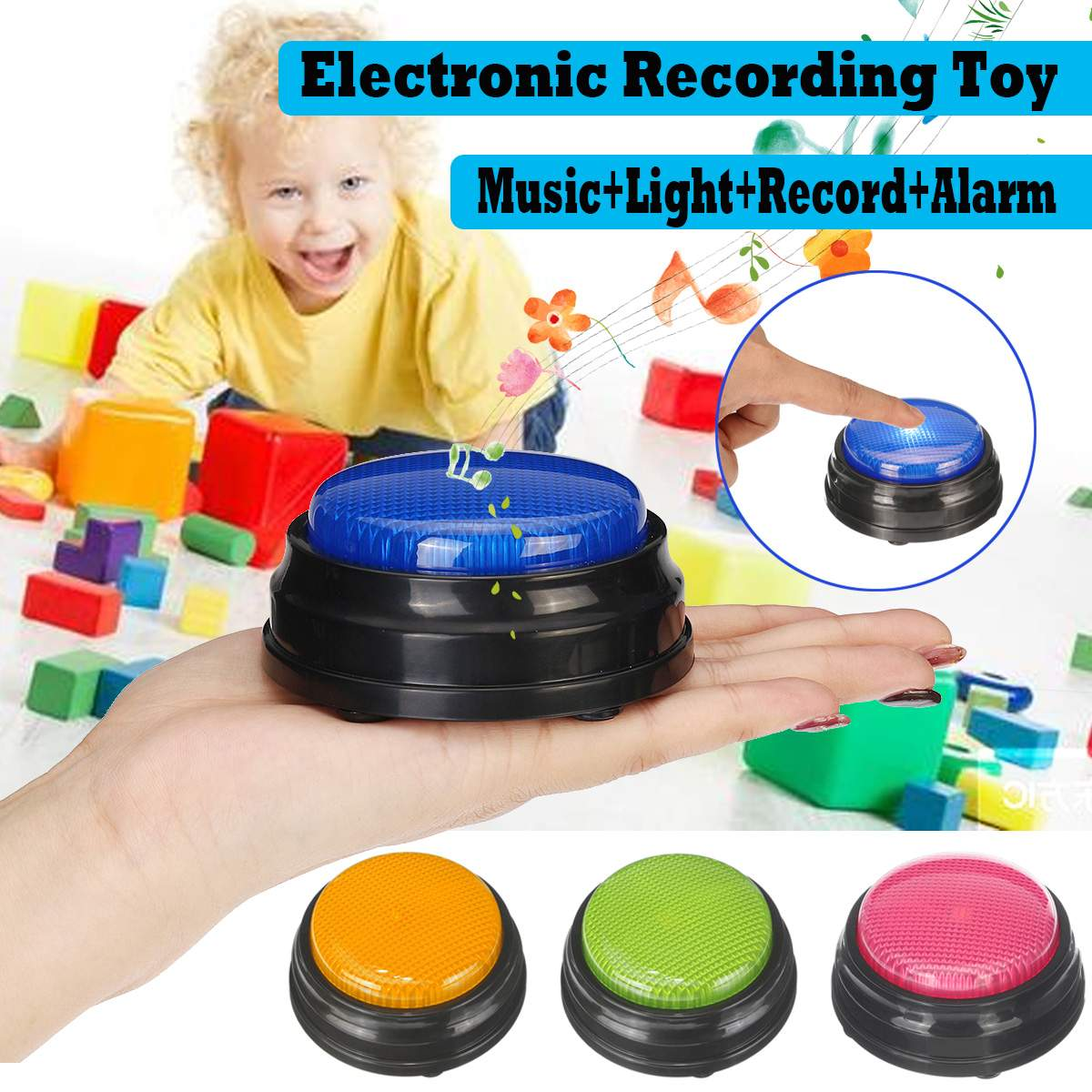 Press Recording Button Buzzer Sound Button Can Record Sound Or Music Kids Children Toy Gifts