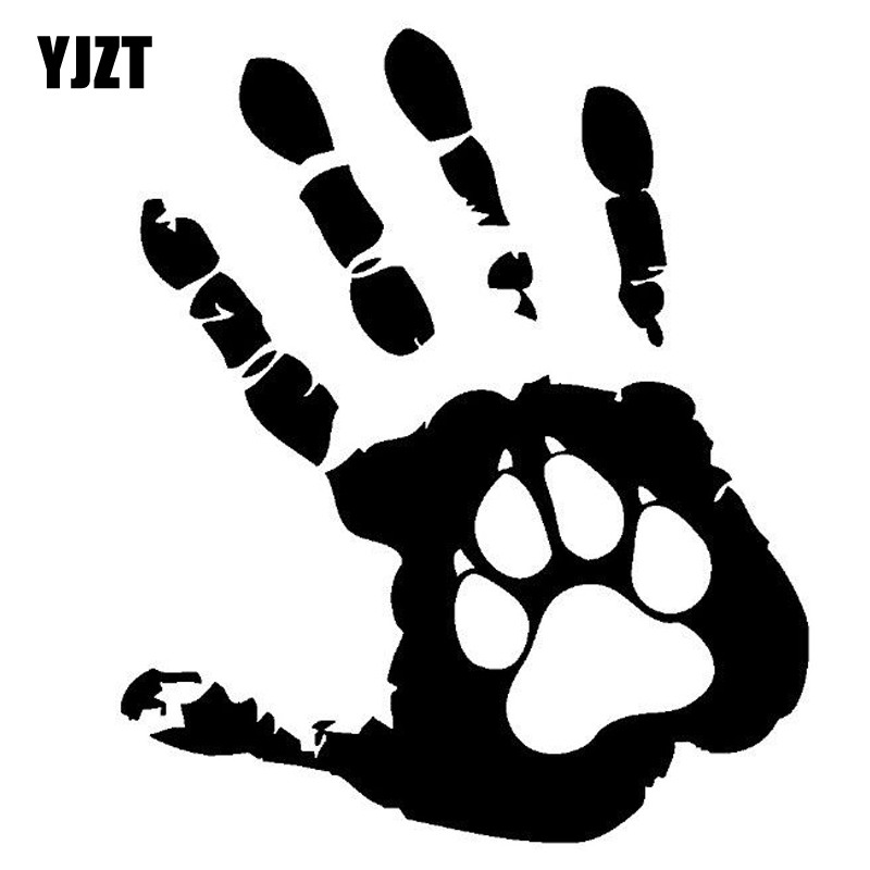 YJZT 10.8CM*12.7CM The Palm Dog Funny Car India Offbeat Vinyl Sticker Decals Black/Silver C10-00187