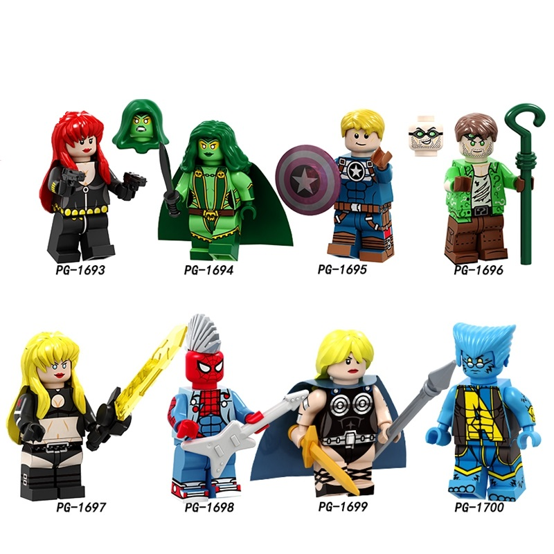Faithful 20pcs/lot Building Blocks Legoings Figures Punk Spiderman Magik Gamora Black Widow Riddler Beast Valkyrie Toys Gifts Children Cheap Sales 50% Blocks