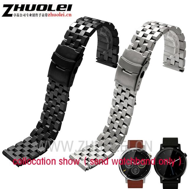 Новый черный серебро нержавеющая сталь ремешок для часов Ticwatch Moto 360 2-й часы Смарт ремни 22 мм LG-G часы