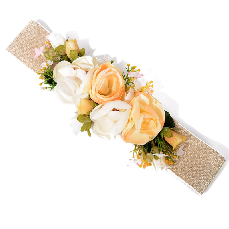 IMIXLOT Sweet Romatic Lily Rose Flower Belt for Women Ladies Wedding Bohemia Fabric Waist Belt Accessories