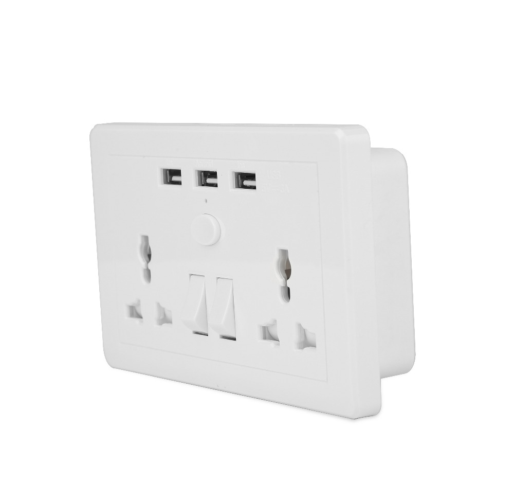 USB wall outlet UK plug wall socket with switch 2 AC 3 USB Charger ...