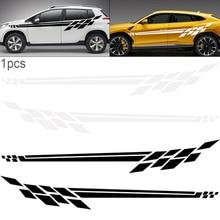 310CM PVC 2 Colors Stripe Lattice Personality Car Racing Waist Line Mudguard Body Side Sticker