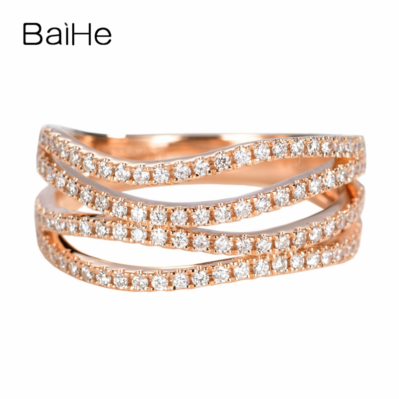 BAIHE Solid 14K Rose Gold(AU585) About 0.50ct H/SI-SI3 Round cut 100% Genuine Natural Diamonds Wedding Trendy Fashion Gift Ring BAIHE Solid 14K Rose Gold(AU585) About 0.50ct H/SI-SI3 Round cut 100% Genuine Natural Diamonds Wedding Trendy Fashion Gift Ring