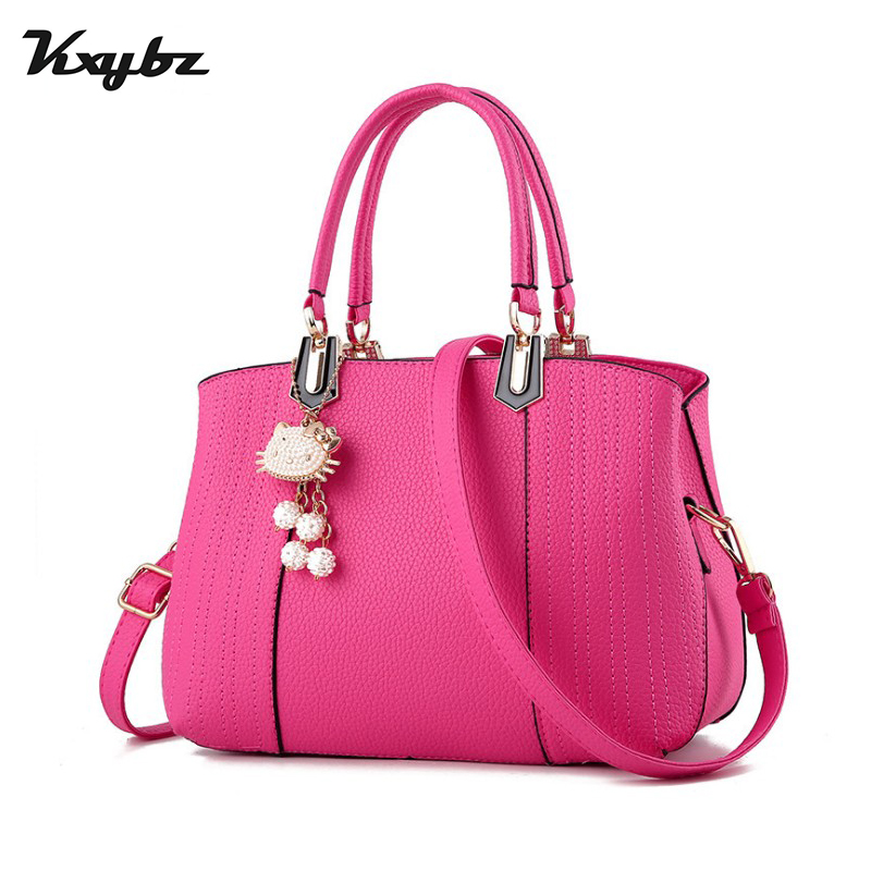 KXYBZ PU Leather Europe Style Simple Ladies Shoulder Bag Fashion Cat Decoration Female Handbags Women Crossbody Bags K1019