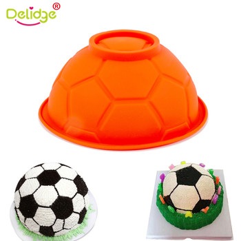 Delidge 3D Soccer Ball Silicone Cake Mold DIY Chocolate Football Sports Bowl Sugar Mould Pastry Candy  Baking Accessory