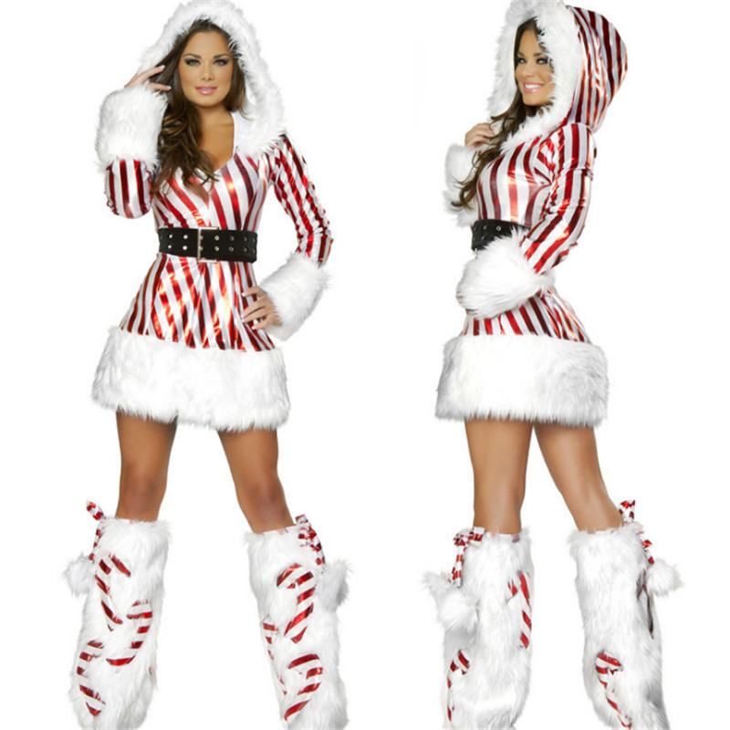 2018 new Xmas Red robes Fancy Dress White and Red Strips Fashion Sexy Santa Costume  high quality  Christmas clothing for Women
