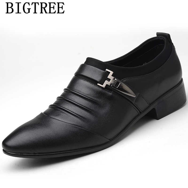 Giày công sở nam thời trang Nam Đầm Giày da nam đầm cho Nữ sepatu trơn trượt trên pria chaussure Homme Mariage heren schoenen