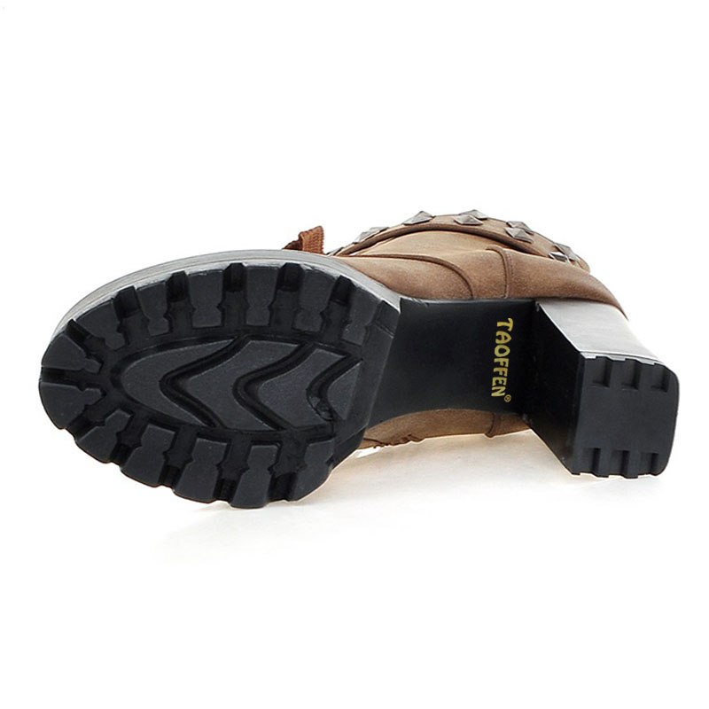 Stiefel Frauen Strap brown Plattform Nieten 33 High Stiefeletten Heel grau Warme 48 Größe Platz Taoffen Schuhe Kreuz Damen Zip Schwarzes w4Utaq0xzO