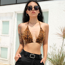 8204fc2aba40 Leopard Printed Sexy Halter Crop Top Women Camis Backless Bandage Lace Up  Sequins