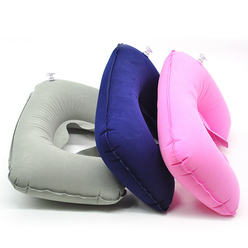 Functional Inflatable Navy Flannel Surface Air Cushion U Shaped Type Head Rest Neck Guard Travel Car Office Nap Portable Pillow