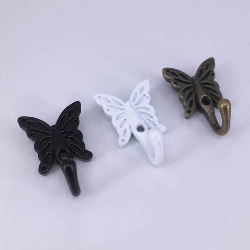 1x Wall Door Mounted Bathroom Towel Coat Hooks Single Robe Hook Hanger Wall Door Decorative Butterfly Coat Hooks
