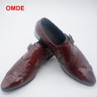 OMDE Single Monk Strap Formal Shoes Men Fashion Pointed Toe Slip On Loafers Mens Dress Shoes Luxury Brand Designer Wedding Shoes