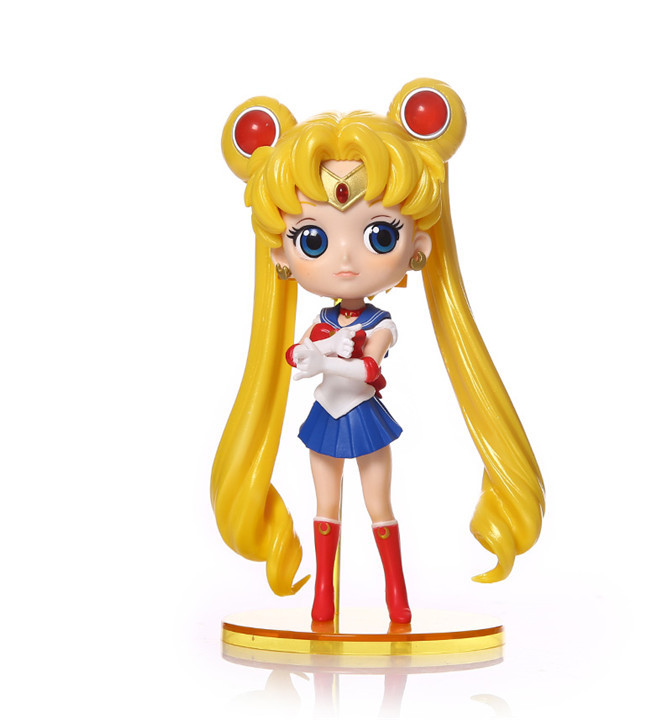 new 1pc Cute Pretty Guardian Sailor Moon Anime Tsukino Usagi Big Eyes Qposket PVC Action Figure Model Doll Toys 15cm