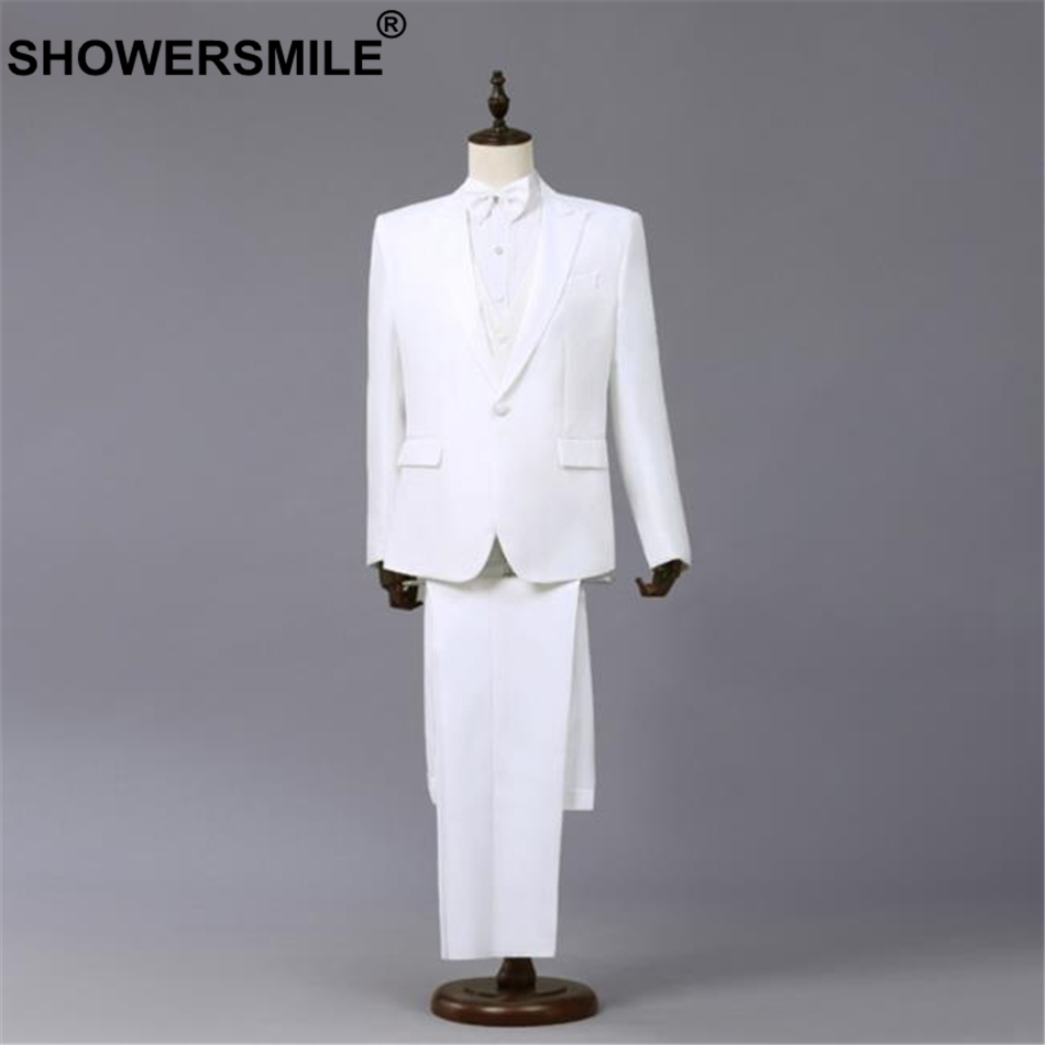 SHOWERSMILE Formal Suit Pants Jacket Blazer Coats Stage-Wear White Mens Summer 3pieces
