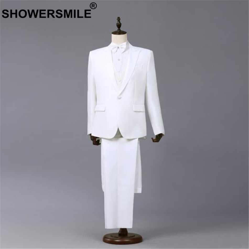 SHOWERSMILE White Formal Suit Jacket Men 3 Pieces Blazer+Pants+bowtie Spring Summer Performance Mens Coats Singer Stage Wear